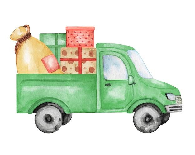Voiture Verte Aquarelle Avec Illustration De Boite De Cadeaux Clipart De Camion De Noel Decoration De Nouvel An Photo Premium