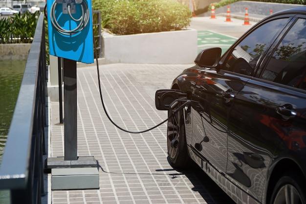 Les voitures électriques chargent de l'électricité pour stocker leurs batteries. Photo Premium