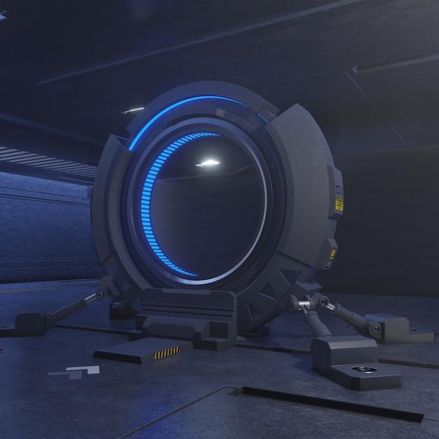 Voyager à travers la porte du futur à la vitesse de la lumière, rendu 3d Photo Premium