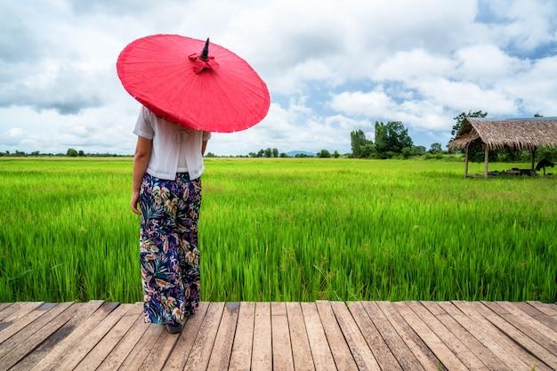 Voyageur Femme Randonnée Paysage De Rizière Asiatique. Photo Premium