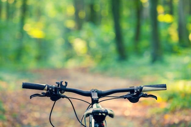 Vtt en descendant la colline en descendant rapidement à vélo. Photo Premium