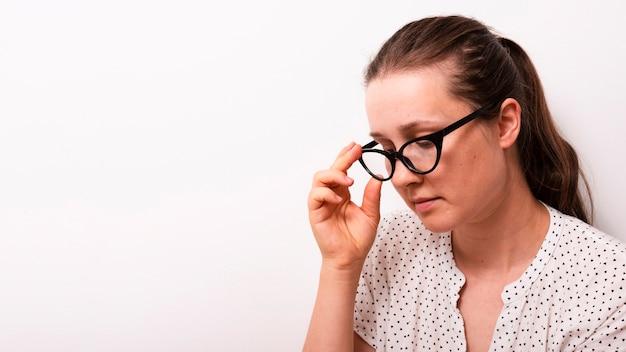 Vue adulte, vue frontale, à, lunettes Photo gratuit