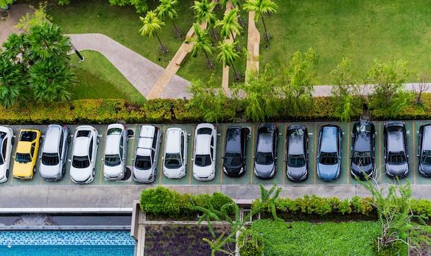 Vue aérienne du parking Photo Premium