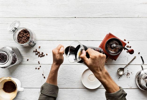 Vue aérienne, de, gens, faire, goutte à goutte café Photo gratuit