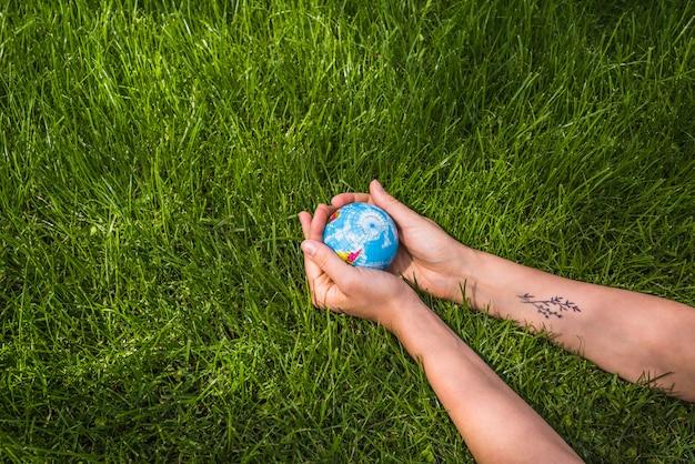 Vue aérienne, de, mains, tenue, boule globe, sur, herbe verte Photo gratuit