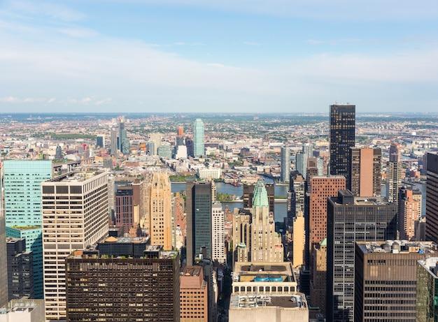 Vue Aérienne De New York City Manhattan Midtown Photo Premium