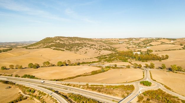 Vue Aérienne Panoramique Du Paysage D'une Autoroute Photo gratuit