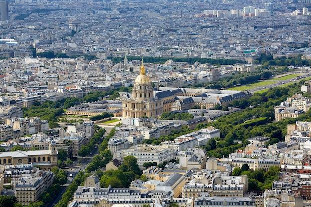 Vue aérienne de paris et invalides france Photo Premium