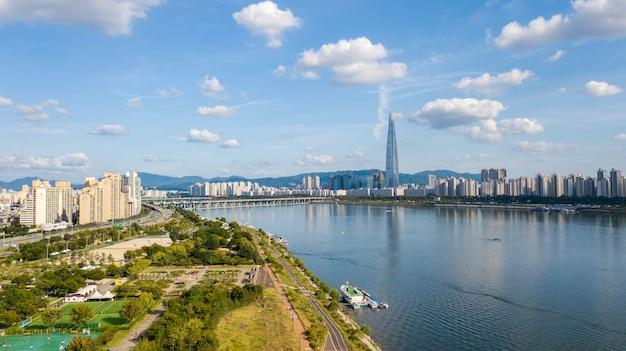 Vue aérienne de séoul Photo Premium