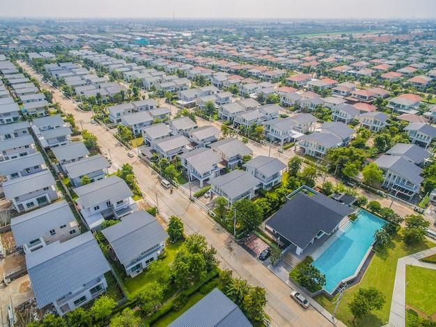 Vue aérienne, de, village, à, bangkok, thaïlande Photo Premium