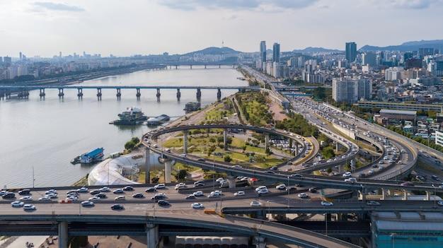 Vue aérienne de la ville de séoul Photo Premium