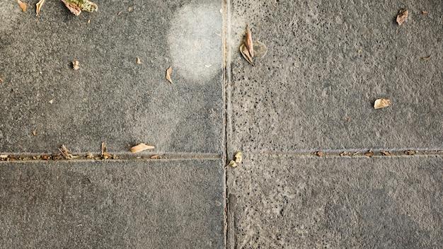 Vue d'angle élevé de sol en béton de ciment avec feuilles sèches Photo gratuit