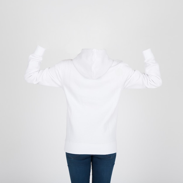 Vue arrière du sweat à capuche blanc Photo gratuit