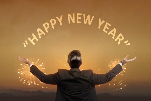 Vue Arrière De L'homme D'affaires Asiatique Prêt Pour 2021. Bonne Année 2021 Photo Premium