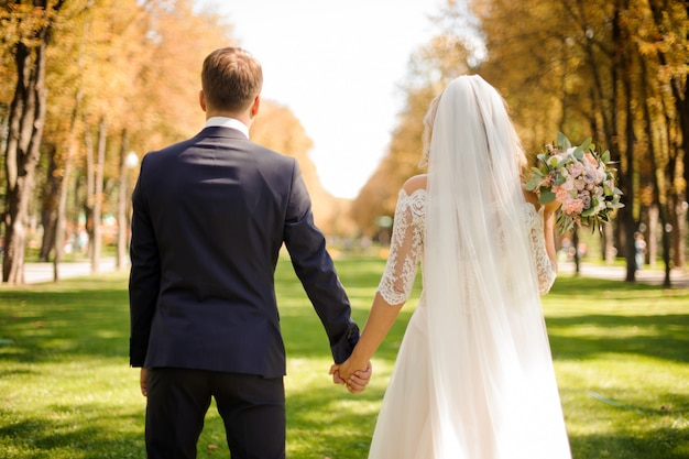 Vue Arrière De La Mariée Et De L'époux, Main Dans La Main Photo Premium