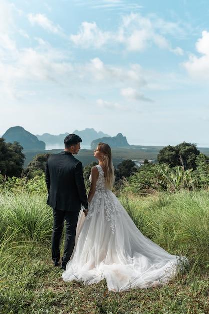 Vue Arrière: Vue Aérienne D'un Couple De Mariage Romantique Des Mariés Dans Une Magnifique Robe De Mariée, Debout Sur Un Champ Vert Et Avec Les Montagnes Photo Premium