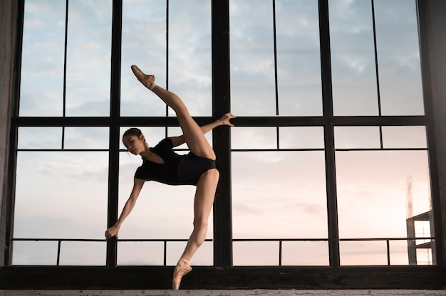 Vue Côté, De, Ballerine, Dans, Justaucorps, étirage Photo gratuit