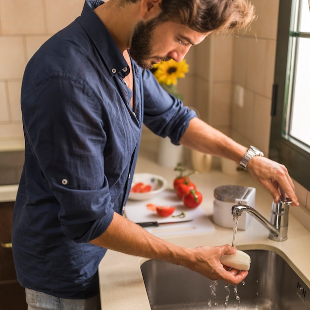 Vue côté, de, homme, laver, blanc, radis, dans, les, évier Photo gratuit