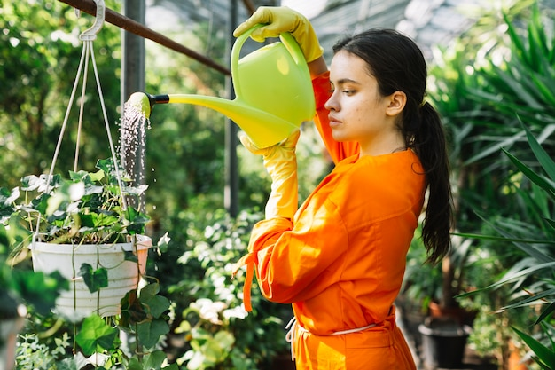 Vue de côté d'une jardinière femelle arrosant une plante en pot en serre Photo gratuit