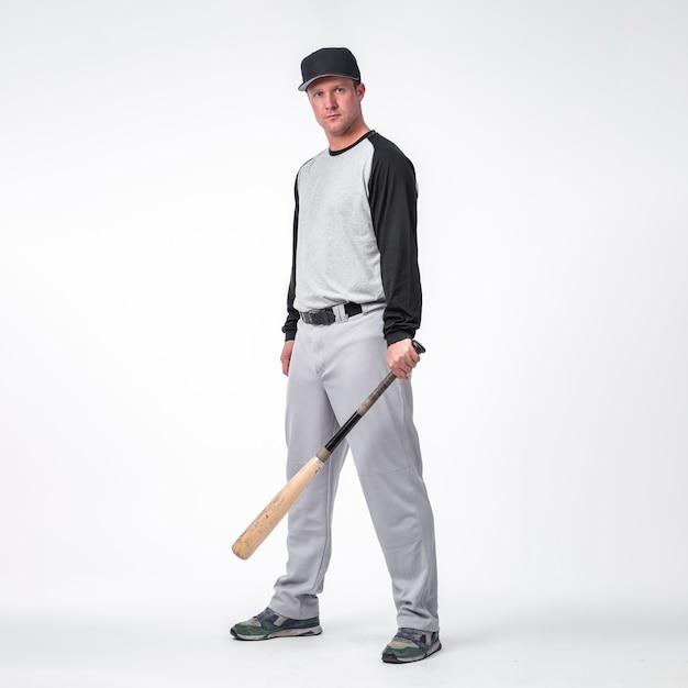 Vue Côté, De, Joueur Baseball, Porter, Casquette Photo gratuit