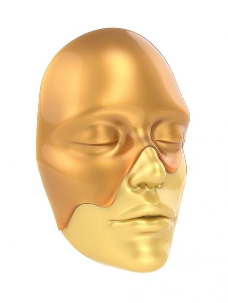 Vue de côté de masque de feuille d'or sur fond blanc 3d render Photo Premium