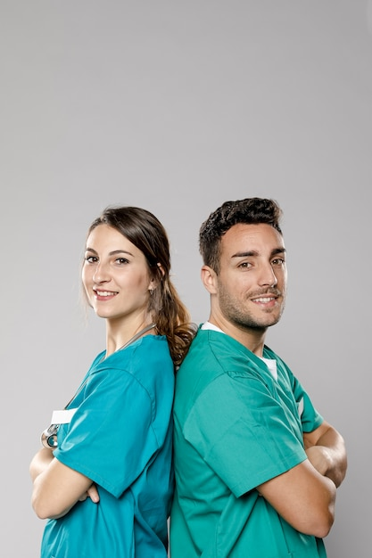 Vue Côté, De, Smiley, Médecins, Poser Photo gratuit