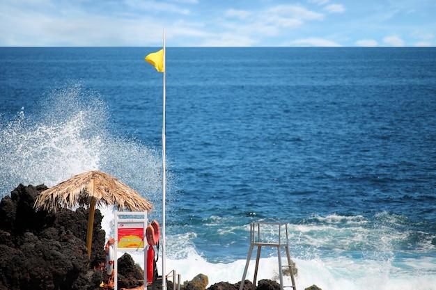 Vue côtière aux açores, portugal Photo Premium