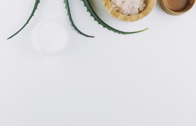 Vue de dessus aloe vera avec des outils de beauté et des produits cosmétiques Photo gratuit