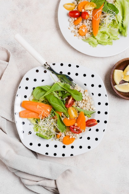 Vue de dessus d'une assiette avec des carottes et d'autres aliments sains Photo gratuit