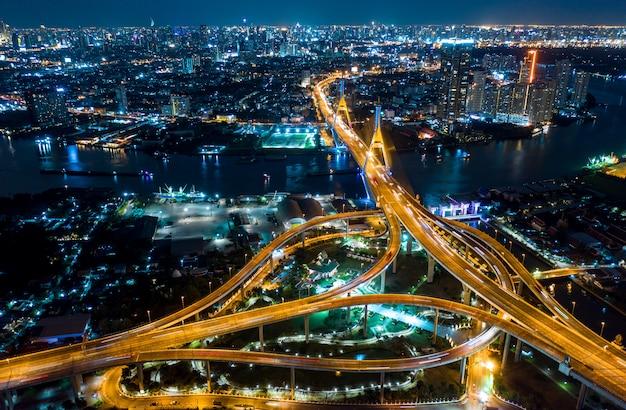 Vue de dessus de bangkok expressway Photo Premium