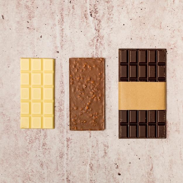 Vue De Dessus De Barres De Chocolat Photo gratuit