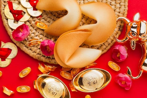 Vue De Dessus De Biscuits De Fortune Chinois Du Nouvel An 2021 Photo gratuit