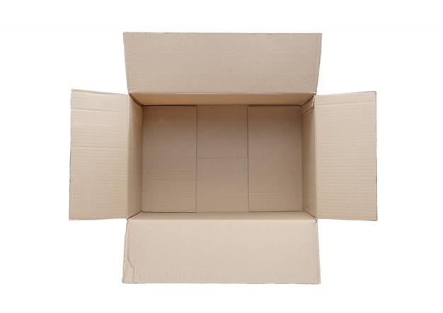 Vue de dessus d'une boîte en carton vide isolée sur fond blanc. Photo Premium