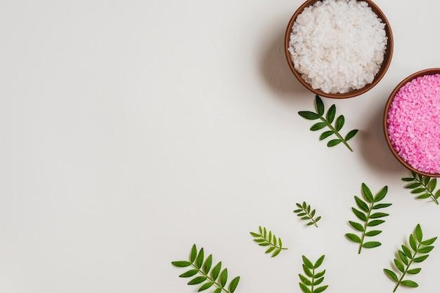Une vue de dessus de bols de sel roses et blancs avec des feuilles vertes sur fond blanc Photo gratuit