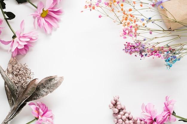 Vue De Dessus Cadre De Fleurs épanouies Photo gratuit