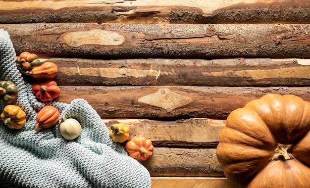 Vue de dessus des citrouilles sur une couverture au crochet Photo gratuit