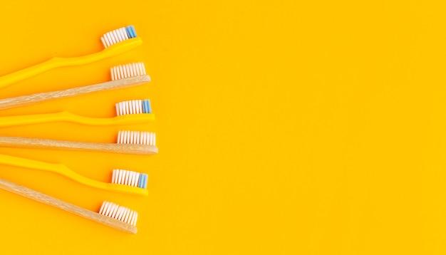 Vue De Dessus Collection De Brosses à Dents Biologiques Avec Espace Copie Photo gratuit