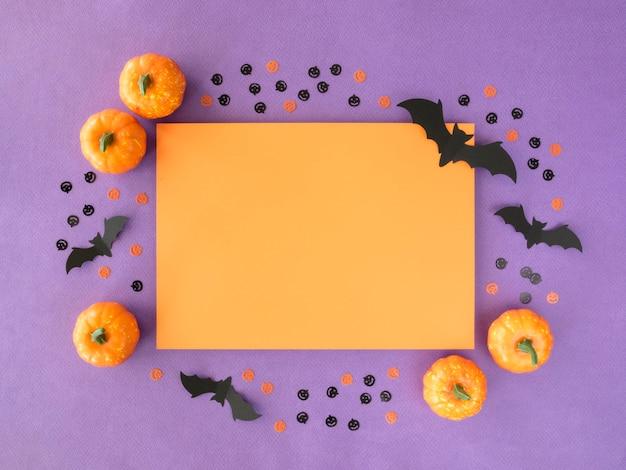 Vue De Dessus Concept Halloween Avec Des Citrouilles Photo gratuit