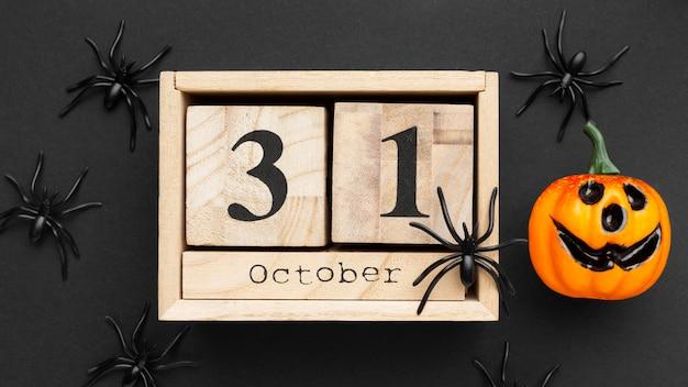 Vue De Dessus Concept Halloween Effrayant Avec Des Araignées Photo gratuit