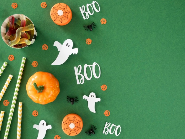 Vue De Dessus Concept Halloween Effrayant Avec Espace Copie Photo Premium
