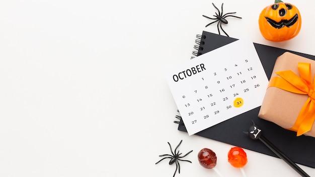 Vue De Dessus Concept Halloween Avec Espace Copie Photo Premium