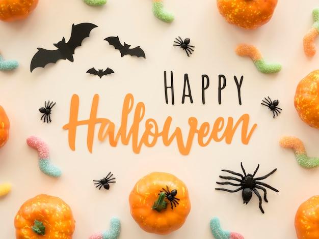 Vue De Dessus Concept Halloween Avec Salutation Photo gratuit