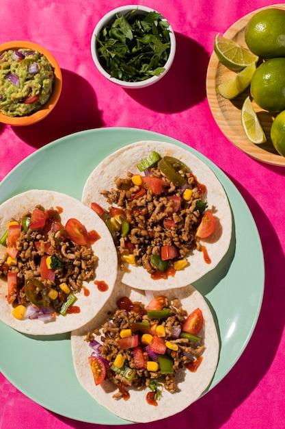 Vue De Dessus De La Délicieuse Cuisine Mexicaine Photo Premium