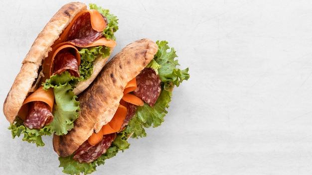 Vue De Dessus De Délicieux Sandwichs Composition Avec Espace Copie Photo gratuit