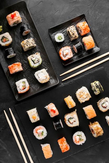 Vue De Dessus De Délicieux Sushis Photo gratuit
