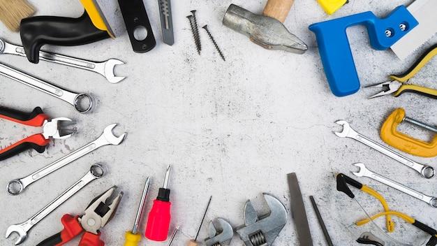 Vue De Dessus Différents Types D'outils Photo Premium