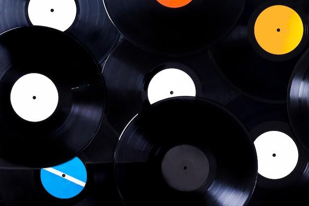 Vue de dessus de disques vinyle Photo gratuit