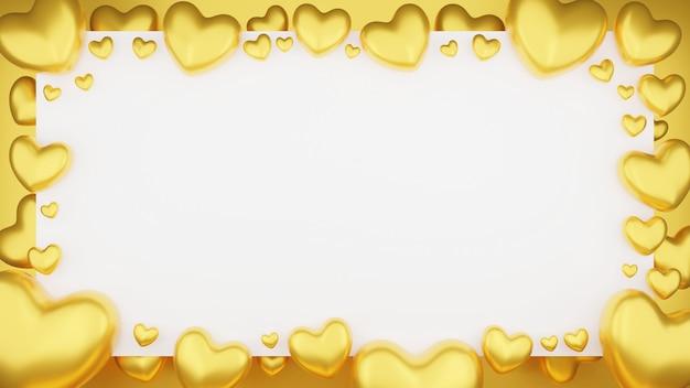 Vue De Dessus Du Coeur D'or Avec Cadre Sur Fond Blanc. Concept De La Saint-valentin. Illustration De Rendu 3d. Photo Premium