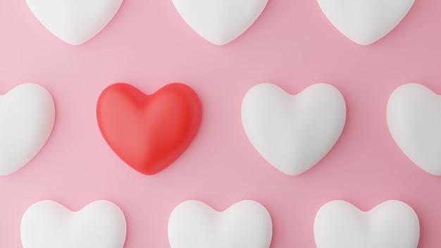 Vue De Dessus Du Coeur Rouge Et Coeur Blanc Et Table Rose. Concept De La Saint-valentin. Illustration De Rendu 3d. Photo Premium