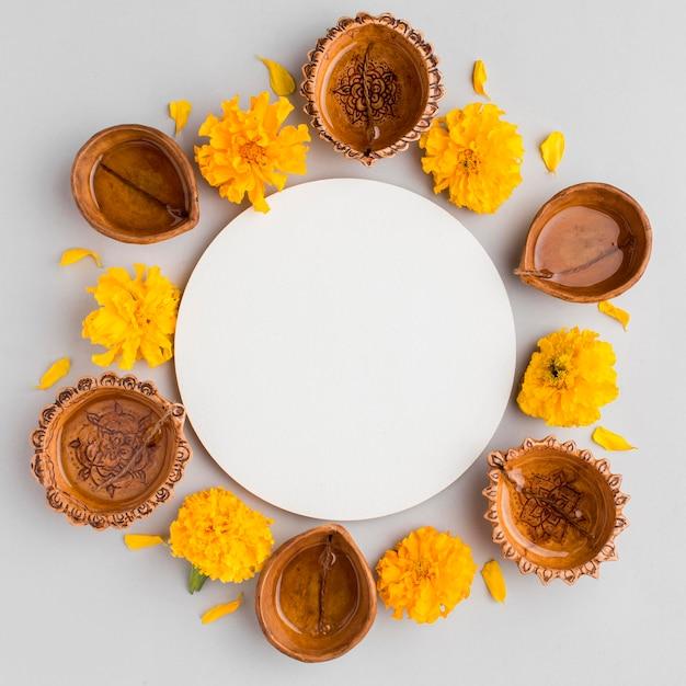 Vue De Dessus Du Concept De Diwali Avec Espace Copie Photo Premium